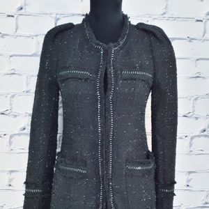 Basic House Jackets & Coats - Basic House Black Silver Tweed Boucle Dress Coat
